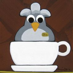 """CUP of JOE"" Whimsical Bird in Coffee Cup Painting, Art by Annie Lane"