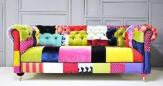 colorful chesterfield patchwork sofa by namedesignstudio on Etsy ....now that is one amazing focal point!