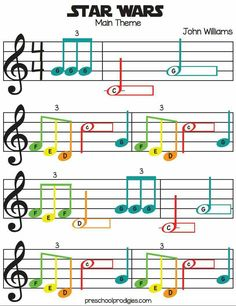 Learn Piano Sheet Music Star Wars (Main Theme) Sheet Music in C Major for Chromanotes Boomwhackers and Deskbells - Teach your child how to play preschool songs with our free sheet music! Good for boomwhackers, hand signing, singing and more! Trumpet Sheet Music, Clarinet Sheet Music, Violin Music, Recorder Music, Music Music, Soul Music, Music Notes, Easy Violin Sheet Music, Keyboard Sheet Music