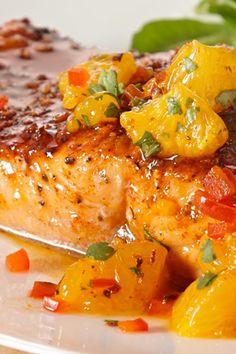 Flavorful orange salsa and no-salt sweet and smoky seasoning make this glazed salmon recipe divine.