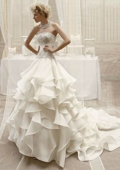 Organza A-Line Strapless Straight Neckline Beaded Lace Appliqued Bodice Wedding Dress