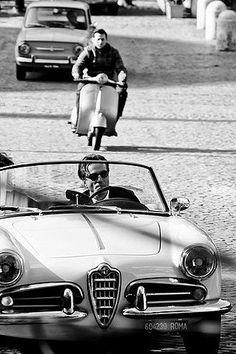 Alfa Romeo Giulietta Spider followed by Vespa and Fiat 850. #Italy #Italia #Vespa