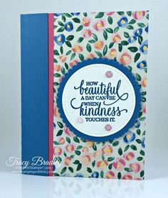 Handmade card showcasing the brand new Designer Series Paper, Garden Impressions and the stamp set, Enjoy Life (both available on June 1, 2018). Created by Tracy Bradley www.stampingwithtracy.com
