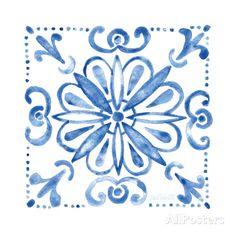 Tile Stencil IV Blue Kunstdrucke von Anne Tavoletti bei AllPosters.de