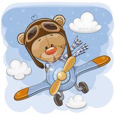 Cute Teddy Bear is flying on a plane. Cute Cartoon Teddy Bear is flying on a plane stock illustration Buy Teddy Bear, Teddy Bear Cartoon, Cute Teddy Bears, Cute Cartoon, Tatty Teddy, Free Vector Images, Vector Free, Cartoon Mignon, Cute Drawings