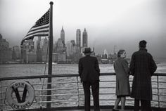 A shot of Lower Manhattan, as seen from a departing ship, 1941  (Jack Delano, Library of Congress)