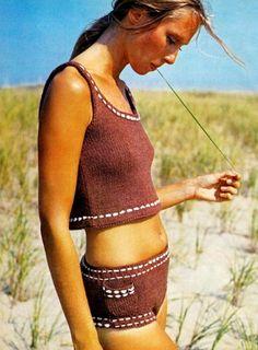 Super cute brown knit bathing suit