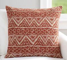 """Ikat Jacquard Pillow Cover, 24X24"""", Terracotta"""