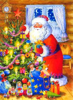 fete noel vintage gifs images - Page 3 Illustration Noel, Christmas Illustration, Illustrations, Christmas Tree Painting, Christmas Art, Vintage Christmas, Gif Fete, Star Diy, Cross Stitch Tree