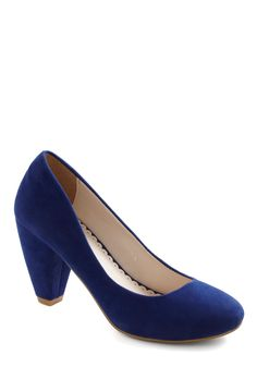 Just Won't Quit Heel - Blue, Solid, Mid, Party, Work, Vintage Inspired, Holiday Party, Faux Leather