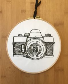 Vintage camera embroidery hoop art, embroidered, modern, photography, retro, sketch, shutter camera
