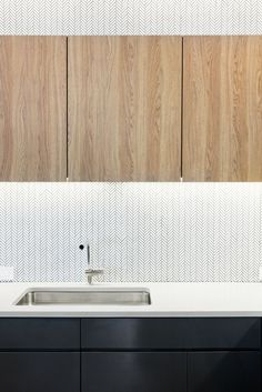 OnDeck Offices – Denver. Kitchen. T-point. Breakout space. Tiled backsplash. Herringbone. Undermounted sink