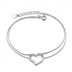 Wholesale Elegant Hollow Heart Pendant Charm Bracelet For Women (SILVER), Bracelets - Rosewholesale.com