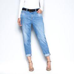 Jeans boyfit de cintura descida em ganga stretch