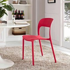 Modway Hop Contemporary Modern Molded Plastic Dining Side Stacking Chair In Red Low Back Dining Chairs, Contemporary Dining Chairs, Solid Wood Dining Chairs, Dining Room Bar, Upholstered Dining Chairs, Dining Chair Set, Side Chairs, Room Chairs, Acrylic Dining Chairs