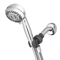 AquaSource Chrome 5-Spray Handheld Shower 2.5-GPM (9.5-LPM) in the Shower Heads department at Lowes.com Shower Arm, Hand Held Shower, Flexible Metal Hose, Increase Flexibility, Chrome Finish, Muscle Tension, Shower Heads, Massage