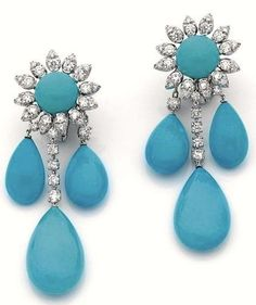 Turquoise & Diamond Ear Pendants-Turquoise is the name of a greenish blue color, based on the gem of the same name. The word turquoise comes from the French for Turkish, as the gem was originally imported from Turkey. The first recorded use of turquoise as a color name in English was in 1573.