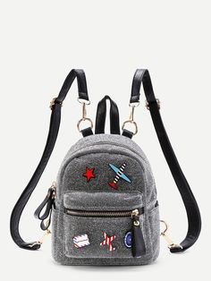 Shop Airplane And Star Patch Backpack With Adjustable Strap online. SheIn offers Airplane And Star Patch Backpack With Adjustable Strap & more to fit your fashionable needs. Cute Mini Backpacks, Grey Backpacks, Stylish Backpacks, Awesome Backpacks, Cute Purses, Purses And Bags, Fashion Bags, Fashion Backpack, Fashion Trends