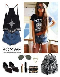 """""""Romwe 5"""" by amra-f ❤ liked on Polyvore featuring Nly Shoes, Aéropostale, Samantha Wills, ODD FUTURE and Ray-Ban"""