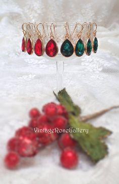 Christmas Crystal Earrings, Christmas Gift, Emerald Red Crystal Earrings, Bridesmaid Gift, Golden plated ear hooks by VintageRoseGallery Bff Gifts, Gifts For Mom, Holiday Gifts, Christmas Gifts, Jewelry Gifts, Unique Jewelry, Etsy Christmas, Vintage Roses, Crystal Earrings