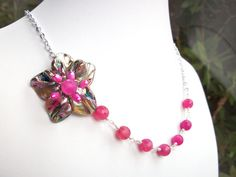 Pink flower necklace asymmetrical beaded wire by StarJewels, $58.00