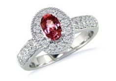 Antique Style 1ct Oval Ruby and Diamond Ring in 14k White Gold