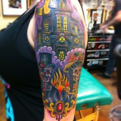 Victorian Haunted house skeleton tattoo by loo Pimble