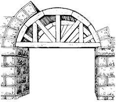arco: elemento construido en forma curvada o poligonal, se ocupa en el espacio abierto entre dos pilares depositando toda la carga en los apoyos mediante una fuerza que se denomina empuje.