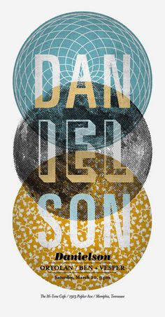 Below is a gig poster for a Danielson show at the Hi-Tone Café in Memphis. The three circles are a metaphor for the Trinity, a reference to the band's Christian messages. Also, the band's name can be divided into three groups of three. Coincidence? You decide.