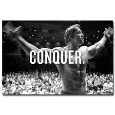 CONQUER. - Arnold Schwarzenegger Bodybuilding Motivational Art Silk Poster