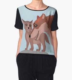 Father Wolf and Pup Chiffon Top #wolf #wolves #animals #pup #father