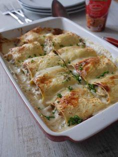Lasagnes roulées au jambon et champignons                                                                                                                                                                                 Plus