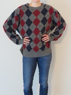 5b59ecf622 Vintage Oversized Preppy Sweater Daniel Cremieux Vintage Sweater Lambswool  Sweater