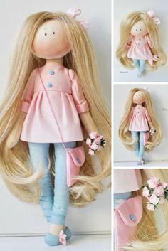 Textile doll Interior doll Handmade doll Baby doll Art doll Cloth doll pink doll Tilda doll Fabric doll Soft doll #tilda #ragdoll #artdoll #annkirillartplace