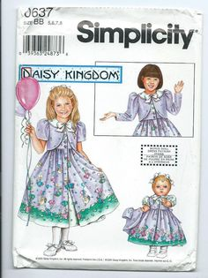 new UNUSED 5 6 7 8 child dress +doll pattern Daisy Kingdom Simplicity 0637 #Simplicity