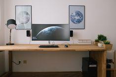 ultrawide monitor, wood desk
