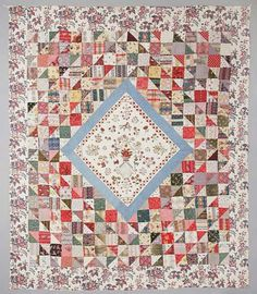 Early English patchwork with embroidered center 1833