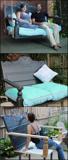 How To Build A Porch Swing From A Recycled Headboard  This is a great way of repurposing a headboard that has seen better days. Turn it into a porch swing!
