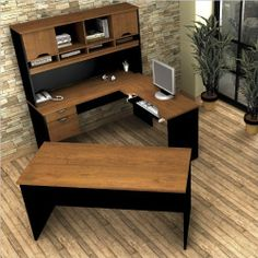 """Innova U-shaped workstation kit in Tuscany Brown & Black by bestar. $647.94. Tuscany Brown & Black. Innova conjugates working and living with style. It offers various storage possibilities for an organized work environment. The work surface is made of a durable 1"""" commercial with melamine finish that resist scratches, stains and wears. The workstation. Save 40%!"""