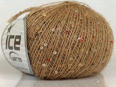 ice yarns sparkle sequin beaded yarn light brown by turkishmarket, $7.50