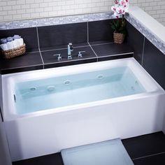 "Miseno MNO3260WAW-L Vitality 60"" Three Wall Alcove Whirlpool Bathtub - Self Leve White Tub Whirlpool Alcove #WhirlpoolBathtubs"