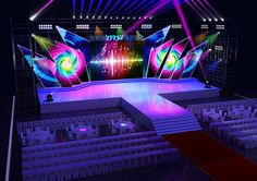 Stage design model Render scene with 2009 and Vray Stage Backdrop Design, Stage Lighting Design, Stage Set Design, Church Stage Design, Event Lighting, Bühnen Design, Booth Design, Concert Stage Design, Corporate Event Design