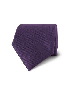 Men's Plain Dk Purple Basket Weave 100% Silk Tie