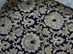 Black Gold Brocade Fabric Indian Brocade by Indianlacesandfabric