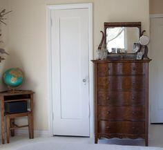 off white walls + pure white door