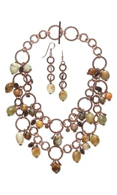 """Double-Strand Necklace and Earring Set with Antique New """"Jade"""" Gemstone Beads and Antiqued Copper Drops, Charms and Necklace"""