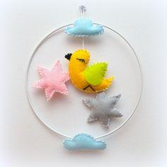 Mobile pour bébé oiseau étoile nuage diametre 20cm - f ait main