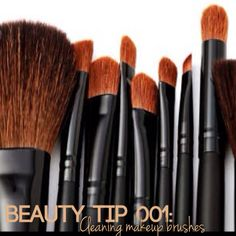 tellems:  How to properly clean those makeup brushes, disinfecting and eliminating built up oil and make up: What you'll need: • 1TBSP white vinegar • 1 cup of hot water Step 1. Mix the vinegar into the cup of hot water Step 2. Soak brushes for 20 minutes. Step 3. Immediately rinse with hot water, then cold and pat dry. Voilà! Brushes are like new and no waxy film left over!