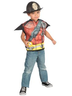 5781780ae7b34 Check out Fire Fighter Deluxe Muscle Chest Shirt Set from Wholesale Halloween  Costumes Wholesale Halloween Costumes