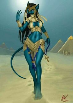 """Bastet was the """"Daughter of Ra"""", a designation that placed her in the same ranks as such goddesses as Maat and Tefnut. Bastet Goddess, Goddess Art, Egyptian Mythology, Egyptian Goddess, Egyptian Cats, Furry Girls, Anime Furry, Gods And Goddesses, Illuminati"""